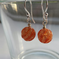 Burnt Orange Crackle Quartz Swirl Earrlings