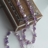 Ametrine and Lilac Pearl Necklace, Bracelet and Earrings Set