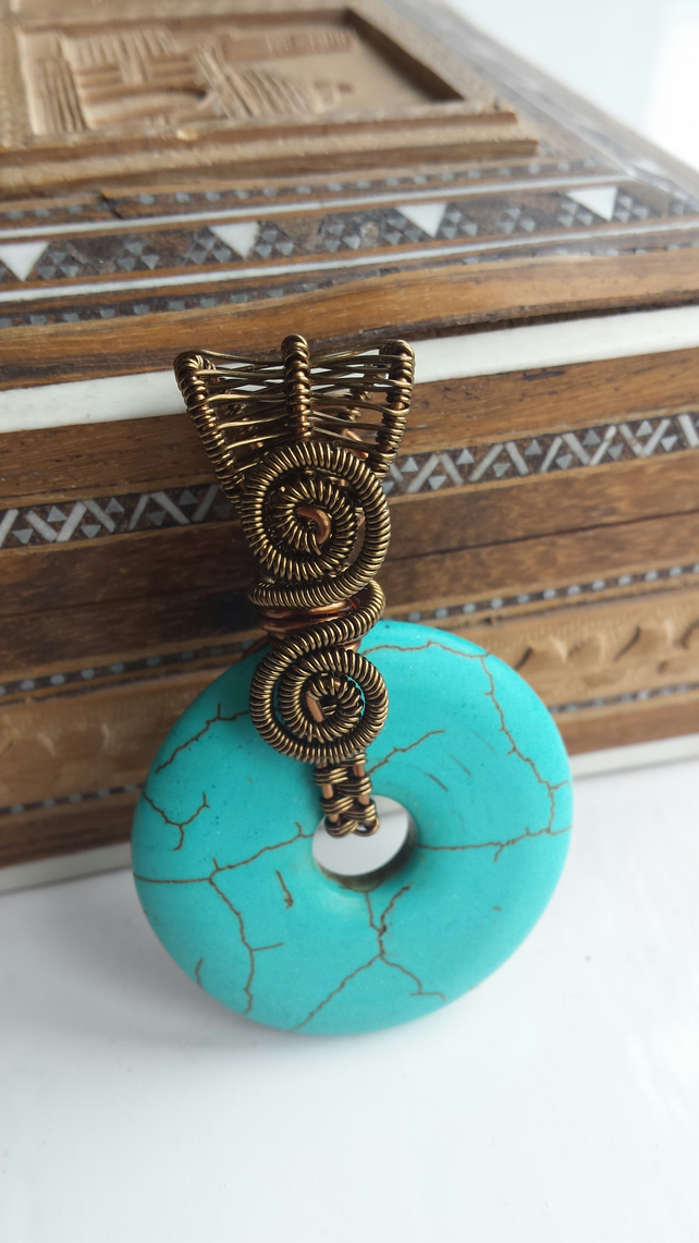 Turquoise Reversible Wire Wrapped Donut Pendant