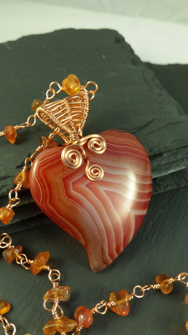 Orange Stripe Agate Heart Wire Wrapped Pendant and Rosary Link Necklace
