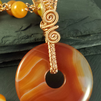 Orange Agate Reversible Donut Pendant with Rosary Necklace