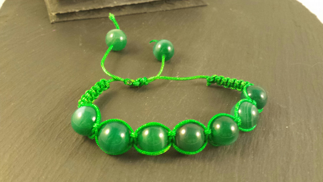 Green Striped Agate Macrame adjustable bracelet