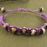 Purple and Black Agate in a Macrame adjustable bracelet