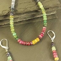 Rainbow of Sapphire, Ruby and Emerald Bracelet and Earring Set 1