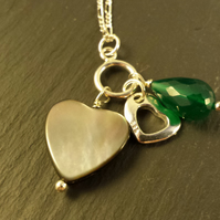 Sterling Silver Necklace with Heart Charms