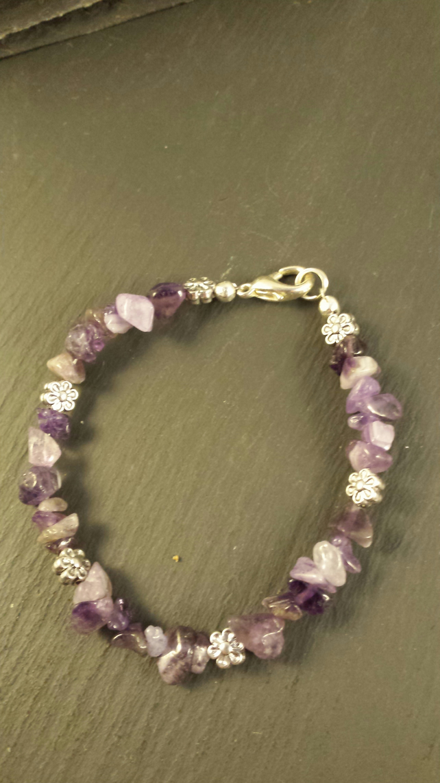 Amethyst and Flower Bracelet