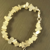 White Moonstone and Triquetra Bracelet