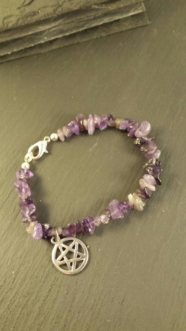 Amethyst and Pentagram Bracelet