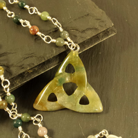 Fancy Jasper Triquetra and Roasry Link Necklace