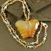Carnelian Butterfly and Rosary Link Necklace