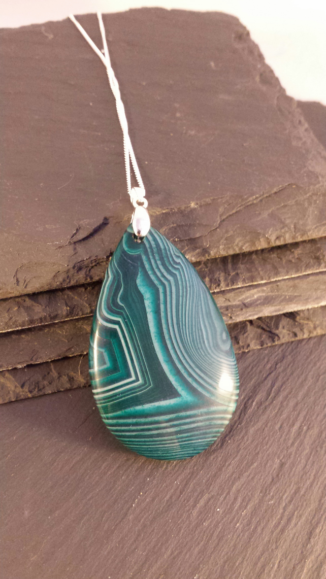Striped Green Agate Pendant on a Sterling Silver Chain
