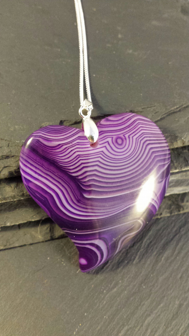 Purple Stripe Agate Heart on a Sterling Silver Chain