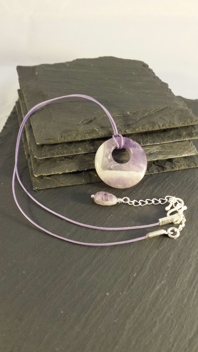 Delicate Amethyst Donut on Lilac Cord Necklace