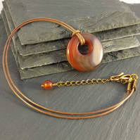 Terracotta Tones Agate Donut on Cord Necklace
