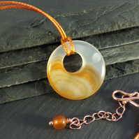 Shaded Orange Agate Donut on Cord Necklace