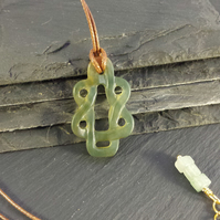 Jade Green Knot Pendant on Cord Necklace