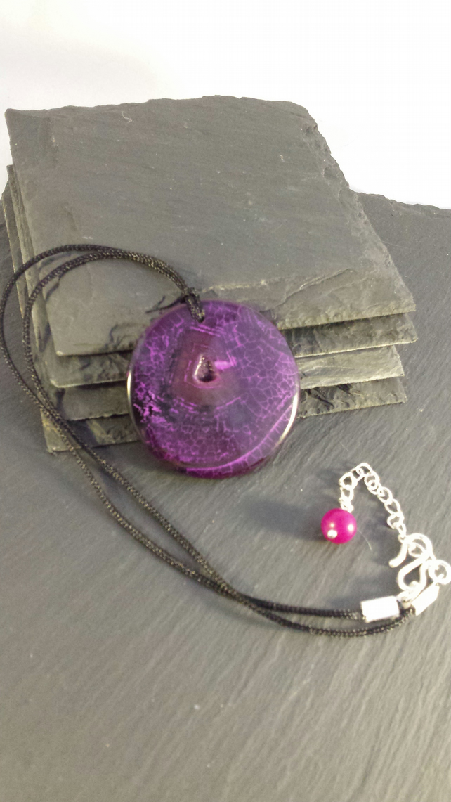 Black and Pink Agate and Druzy Disc on Cord Necklace