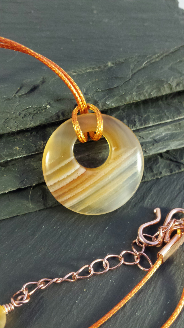 Orange Striped Agate Donut on Cord Necklace