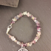 Fluorite and Tree of Life Bracelet