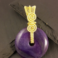 Purple Agate in Gold-Plated Wire Wrapped  Reversible Donut Pendant