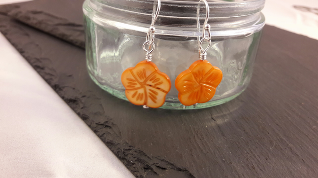 Orange Carved Shell Flower Earrings