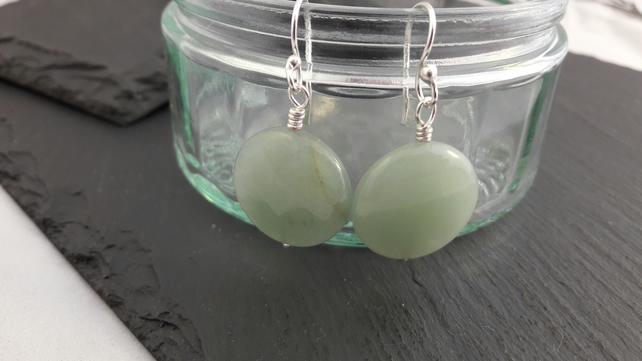 Aventurine Faceted Coin Earrings