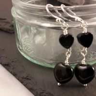 Black Agate Double Heart Earrings