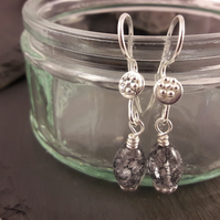 Black Crackle Quartz Earrings