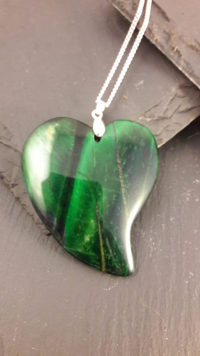 Green Tigers Eye Heart Pendant with Sterling Silver Chain