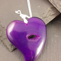 Purple Hole in My Heart Agate Pendant with Sterling Silver Chain