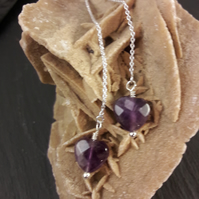 Faceted Amethyst Heart Pull Through Sterling Silver Earrings