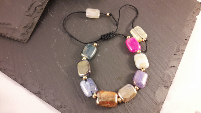 Multi-coloured Metallic Coated Poppy Agate Adjustable Bracelet