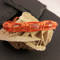 Unisex Orange Agate in Orange Waxed Cord Adjustable Macrame Bracelet