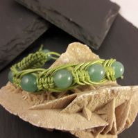 Unisex Green Agate in Green Waxed Cord Adjustable Macrame Bracelet