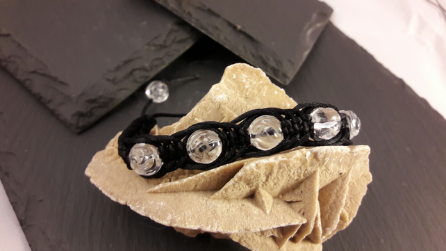 Carved Quartz Roses in Black Cord Macrame Adjustable Bracelet
