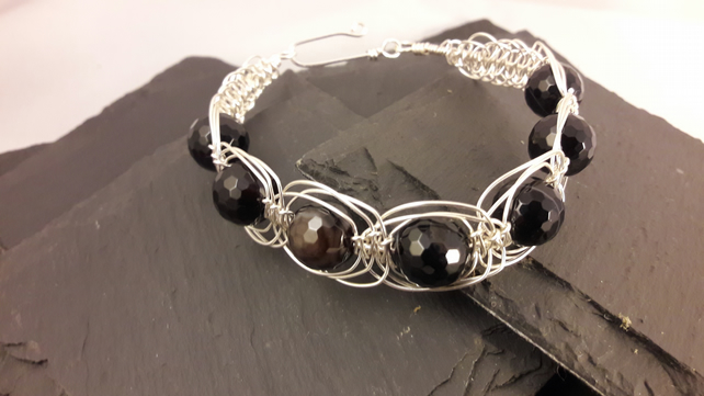 Black Stripe Agate in Silver Wire Macrame Brangle