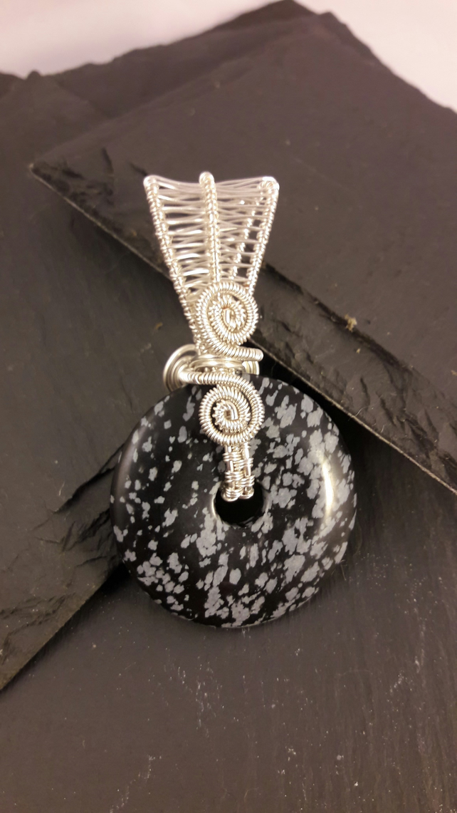 Snowflake Obsidian Reversible Donut Wire Wrapped Pendant