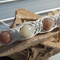 Unisex Peach and White Moonstone Macrame Bracelet