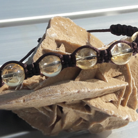 Citrine and Chocolate Satin Cord Macrame Bracelet