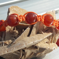 Orange Agate in Orange Waxed Cord Macrame Bracelet