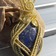 Lapis Lazuli Wrapped in Gold-Plated Wire Pendant