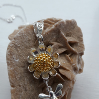Sterling Silver Daisy and Bee Pendant on Sterling Silver Chain