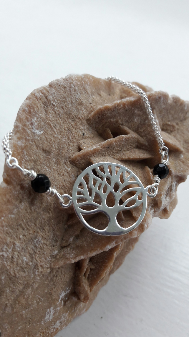 Sterling Silver Tree of Life and Black Agate Adjustable Bracelet