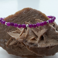 Purple Quartzite and Sterling Silver Beads with Your Choice of Charm