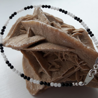 Black and White Agate with Your Choice of Sterling Silver Charm