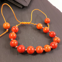 Orange Magnesite Adjustable Bracelet
