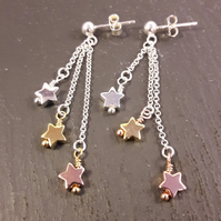 Sterling Silver, Gold and Rose Gold Star Earrings