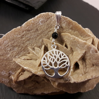 Sterling Silver Tree of Life and Black Agate Necklace (birthstone customisable)