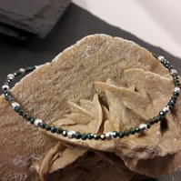 Green Coated Black Spinel & Sterling Silver Bracelet With Your Choice of Charm