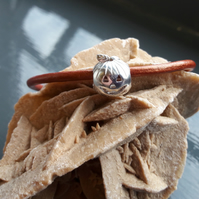 Sterling Silver Pumpkin on Copper Leather Bracelet